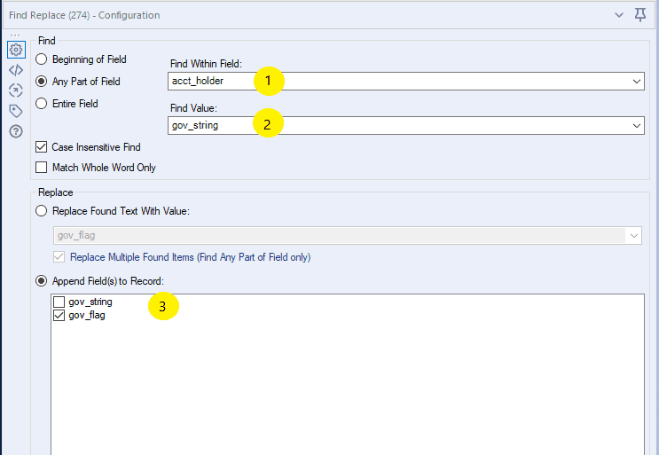 Annotated Find Replace tool configuration